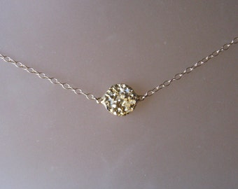 Druzy Quartz Necklace with Gold Filled Chain, Layered, Everyday, Sparkle, Texture, Gifts for Her