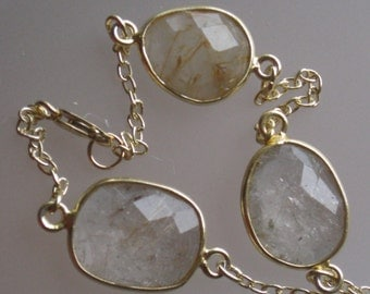 Rutilated Bezel Gold and Gold Filled Chain Bracelet, Rutilated Quartz, Boho, Natural, Gemstone, Everyday Jewelry