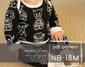 Baby Sweatsuit pattern and tutorial NB - 18M PDF pattern boy girl modern infant layette pajamas