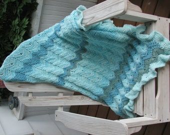 SITE BUSTER Turquoise Knitted Afghan  Free Ship to lower 48