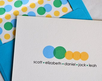 Personalized Family Stationery Connected Design - Set of 8 Foldover Note Cards
