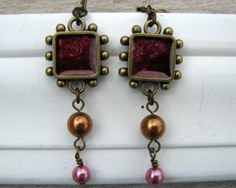 Magic Mica... Artisan Earrings, Shades of Pink and Copper