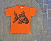 Goldfish T-Shirt / Black Moor Fish Design / Hipster Tee on Bright Orange Tee for Kids