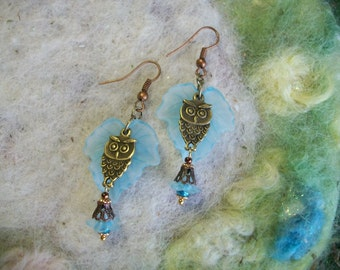 Garden Owl Earrings, Blue Ivy Leaf,