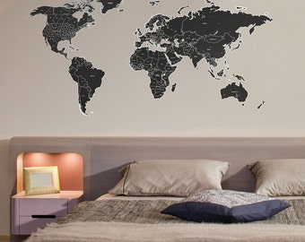 Black World Map Wall Sticker with White Counties Names and Divides