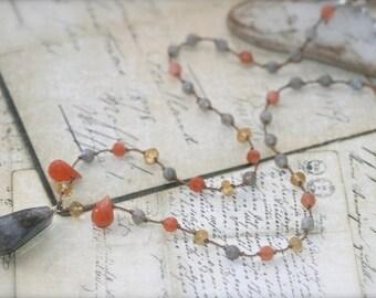 Gemstone necklace Labradorite, Moonstone, Citrine