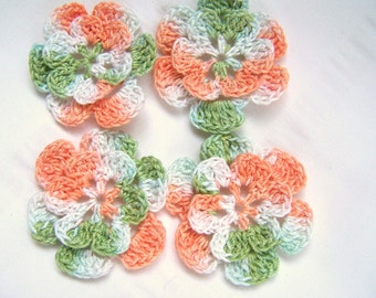 Appliques hand crocheted flowers set of 4 summer melon cotton 1.5 inch