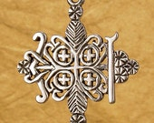 PAPA LEGBA VEVE - Solid Cast Voodoo Veve Lwa Vodou Charm Pendant in Sterling Silver or Bronze