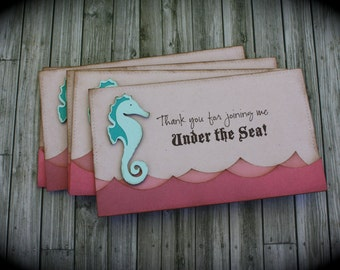 UNDER the SEA / MERMAID themed Thank you cards...set of 5