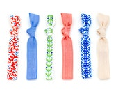 The Mediterranean Package - 6 Elastic Geometric Blue Tile Laurel Coral Hair Ties that Double as Bracelets by Mane Message on Etsy