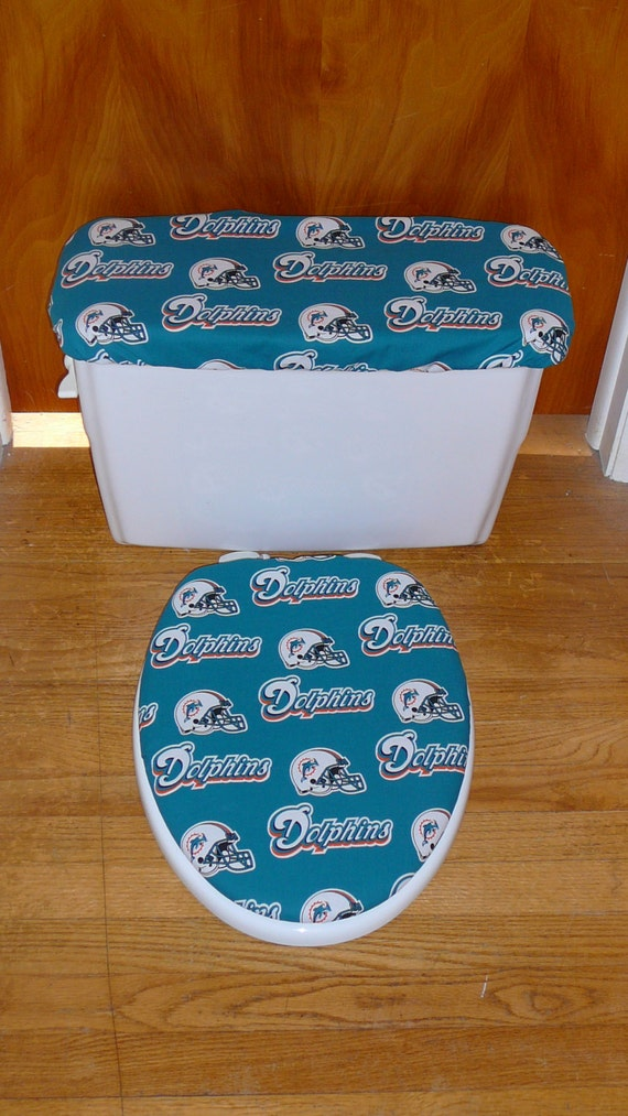Miami Dolphins Toilet Seat And Tank Lid Cover Set