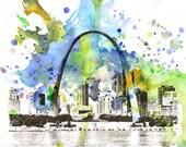 St. Louis Cityscape Skyline Landscape Art Print From Original Watercolor Painting 8 x 10 in Art Print