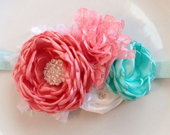 Soft coral and mint headband