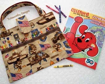 crayon holder army fabric coloring book and crayon bag kids coloring pages organizer - Coloring Book And Crayon Holder