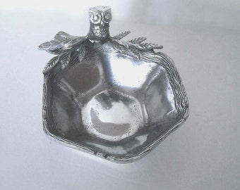 vintage 1970's pewter owl woodland style serving bowl