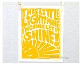 This little light of MIne, My Sunshine, Typography, Wall Art, Nursery Decor, Kitchen Art, Children's room Decor,  Kitchen Sign