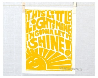 This little light of MIne, My Sunshine, Typography, Wall Art, Nursery Decor, Kitchen Art, Children's room Decor,  Kitchen Sign