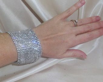 Rhinestone and Crystal Bridal Cuff Bracelet Wedding Jewelry