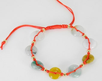 Natural Jade  Lucky Red String Bracelet  with Gold Beads