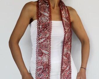 Burgundy Silk Scarf, Italian Style Scarflette, Two Layered Long Foulard, Handmade Tatting Lace Trim, OOAK Gift, Women Fashion