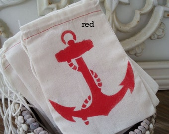 Beach Nautical RED ANCHOR  4x6 Muslin Drawstring Favor Candy Bags 10 / Kids Birthday / Wedding Baby Shower / Cutlery Silverware Holder