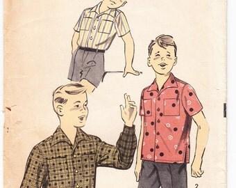 Vintage 1950 Advance 8166 Sewing Pattern Boy's Sport Shirt Size 12 - 14