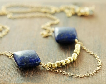 Lapis Lazuli Gold Necklace, Geometric Statement Jewelry, Gemstone Layering Necklace