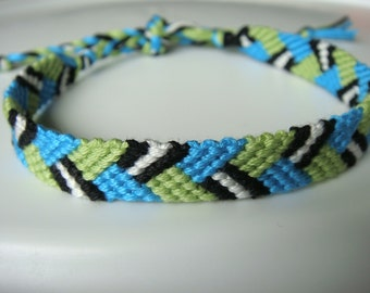 Turquoise, Green, Black and White Friendship Bracelet