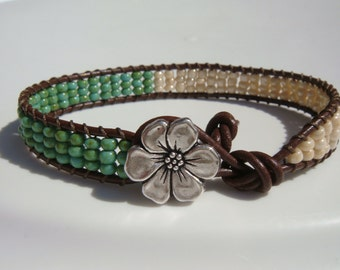 Turquoise Seed beaded Leather Bracelet Flower Button