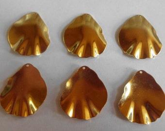 Flower Petal Dangles- Vintage- Gold Plated- Brass- Dangles- Set of 6