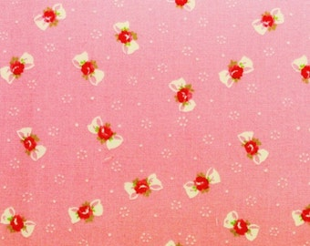Yuwa Bows with Rose Centers on Pink Cotton Fabric AT816879A