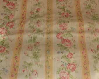 Yuwa Small Roses with Yellow Stripe HH812948C Cotton Fabric