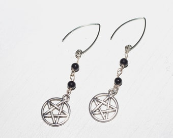 Craft Culture Black and Silver Pentagram Earrings