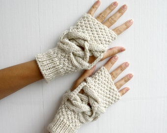 Handknit Wool Cream  Mittens fingerless gloves Mixed Valentine's day Gift under 35 Design By Denizgunes