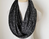 READY TO SHIP - Jersey Knit Infinity Scarf in Black and White - Unisex