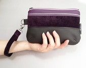 Evening WRISTLET in purple and brown vegan leather and velvet with detachable strap