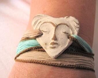 Sale! Silk Wrap Bracelet, With Beautiful Ceramic  Woman's Face, Beach, Spa Colors