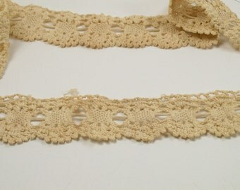 Lace Trimming Antique Crocheted Ecru Victorian Handmade Off White Cream