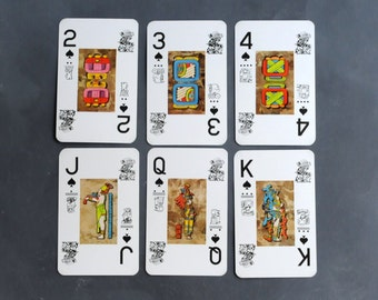 Mayan playing cards, three or six playing cards, art supply cards
