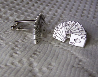 Gambler Cuff Links - Lucky Casino Cuff Links - Deck of Cards Cuff Links - Gambler - Dealer - Las Vegas, Poker, Blackjack