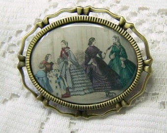 Southern Belles Brooch Pendant Combo - Untied Daughters of the Confederacy - Civil War - Reenactment Brooch - UDC - Southern Jewelry- Godeys