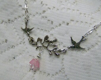 Bird Necklace - Branch Necklace - Love Birds - Sterling -  Leaf - Wedding Branch - Sparrows - Bridesmaid - Flying - Swallow Jewlery
