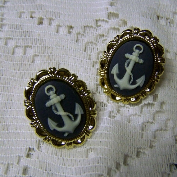 Gold Earrings - Anchor Cameo - Navy and White - You choose finish - GOLD, SILVER, GUNMETAL - Nautical - Sailing - Boating = Anchor Jewelry