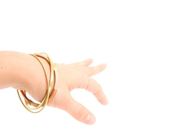 SALE Brass & Copper Fiber Bangle set - Nebula collection