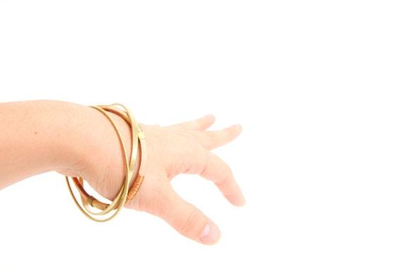 SALE Brass & Copper Fiber Bangle set - Nebula collection