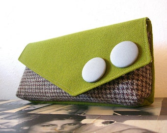 Olive Green and Chocolate Houndstooth Large Clutch READY TO SHIP