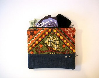 Olive, Pumpkin Vintage Print and Dark Wash Denim Zipper Pouch With Coin Pocket Makeup Bag