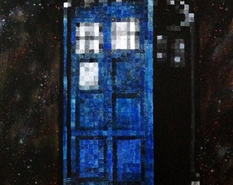 Dr Dr. Who PIxelated 8 Bit TARDIS Acrylic Painting Original Pop Art
