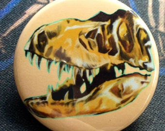 Tyrannosaurus Rex Skull Illustration Pop Art 1 1/2 inch pin button