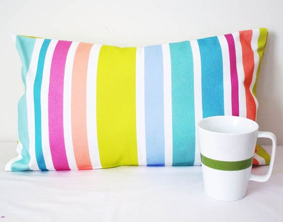 Color Block Pillow, Rainbow Striped Pillow Cover, 11 x 18 Lumbar Pillow Cover, Home Decor, Sofa Pillows, Ombre Color Block, Pillow Cover